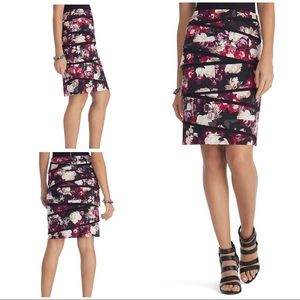 EUC WHBM Roses Floral Tiers Panels Pencil Skirt 6